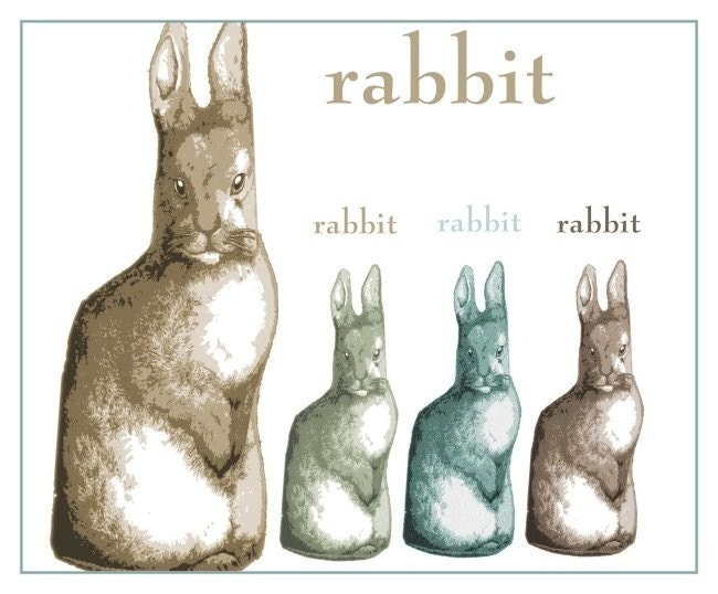 RABBIT PRINT Four Rabbits MODERN AMERICANA ART PRINT POSTER Cemetery Rabbits CUTE