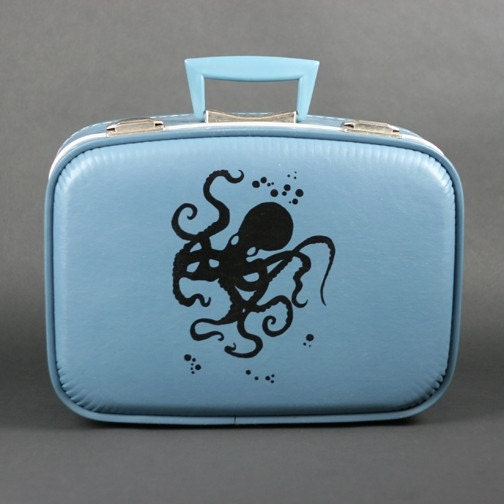 OCTOPUS- Vintage blue suitcase with hand printed Octopus