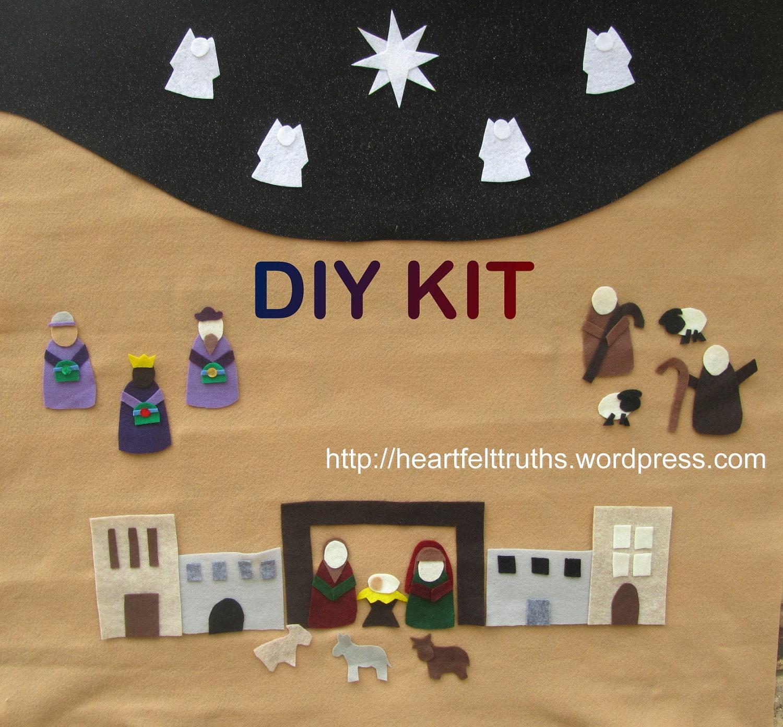 Diy Advent Calendar Nativity : Items similar to diy kit for felt nativity set advent