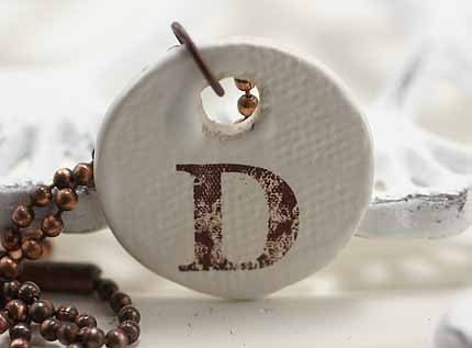 Rustic Monogram Necklace Letter D