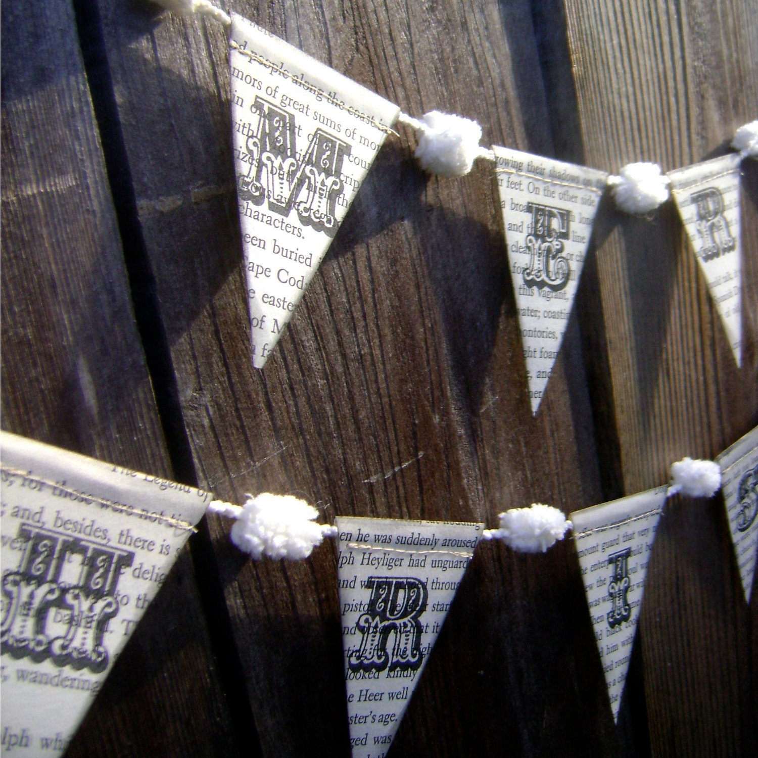 Merry Christmas Garland / Banner made from Vintage Book Paper