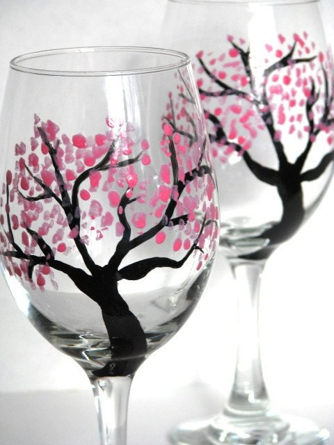 Wine Glasses Hand Painted Cherry Blossoms By Prettymydrink