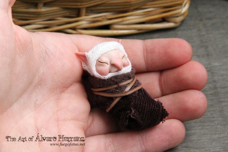 Baby brownie  - fantasy ooak art doll goblin imp - FuegoFatuo