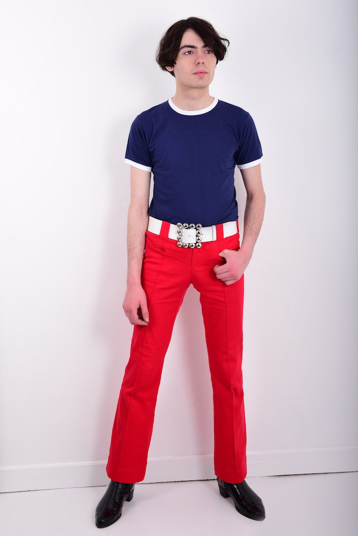 60s Style Mens Bootcut Hipster Trousers Flares Pants in Red Mod Psych Hippie Vintage Reproduction