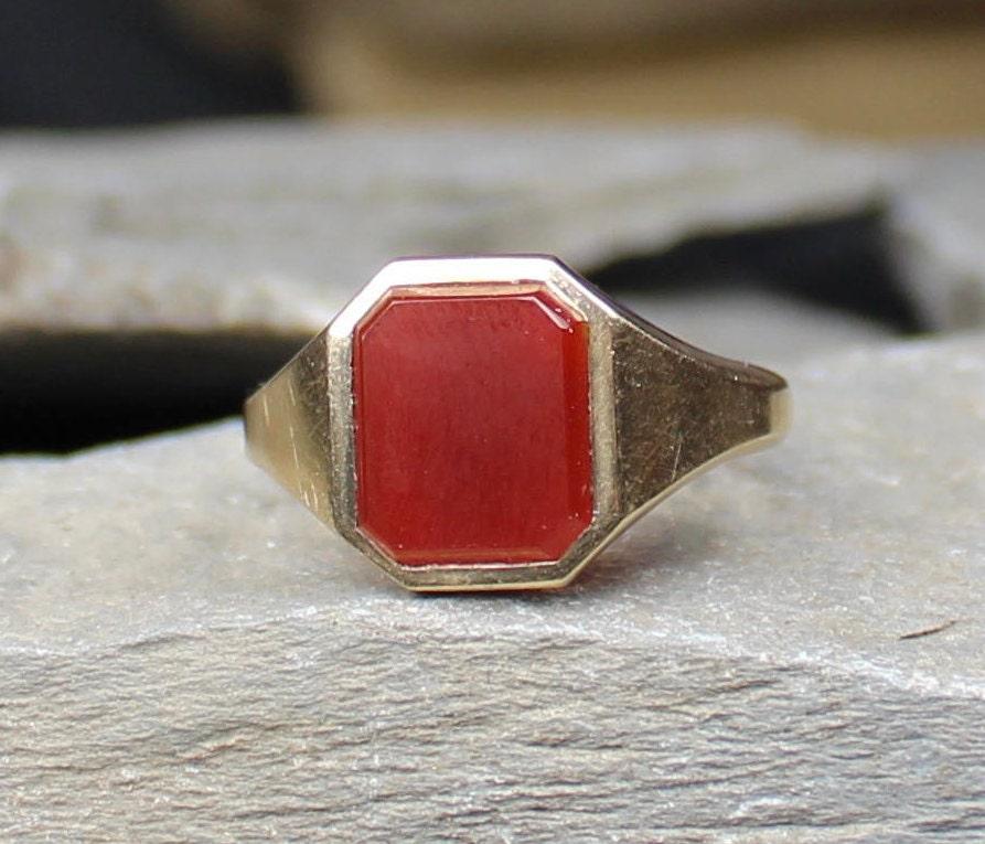 Antique 1914 9CT Gold Carnelian Signet Ring