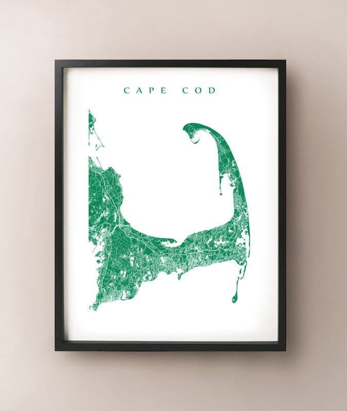 Cape Cod Map Massachusetts Art Poster Print By CartoCreative