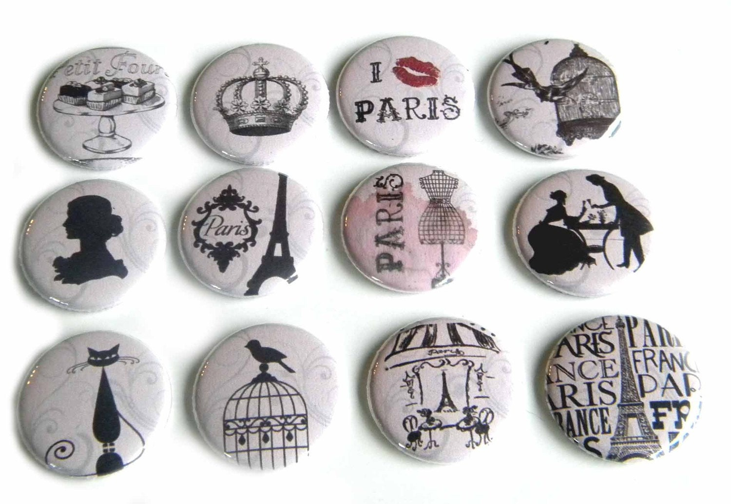 12 Paris Themed Flat Back Buttons