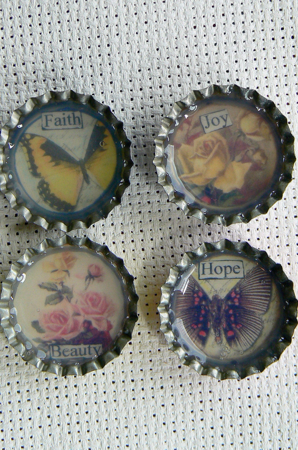 Set of 4 Magnets - Altered Bottle Caps - Victorian Flowers and Butterflies