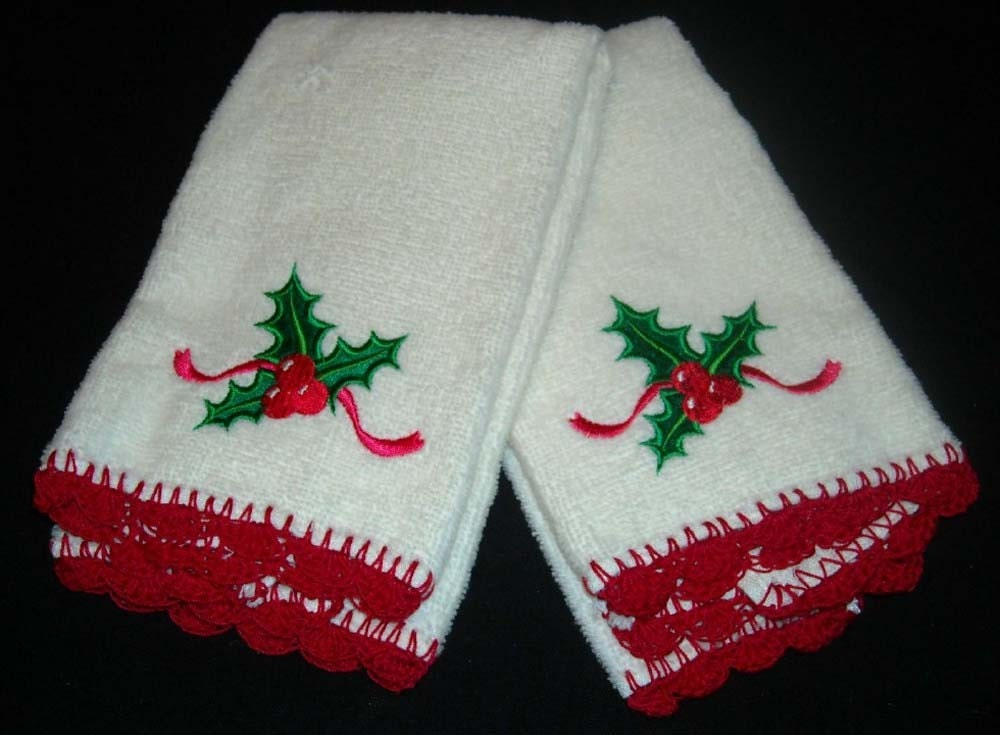 Christmas Holly Tea Towel with Crocheted Shell Edging - Set of 2