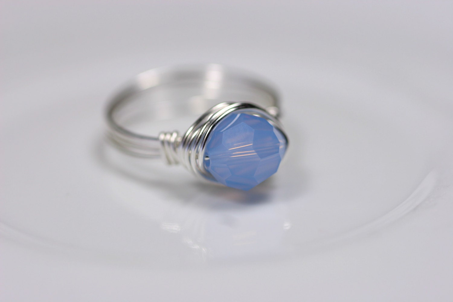 blue opal ring wire wrapped jewelry handmade by