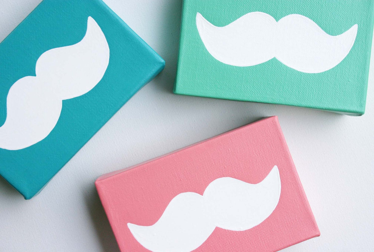 Mint Green, Seafoam Mustache - Affordable Original Painting, Wall Art, Home Decor (4 x 6 Canvas)