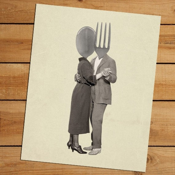 Slow Dancing Utensils Spoon and Fork 8x10 Print