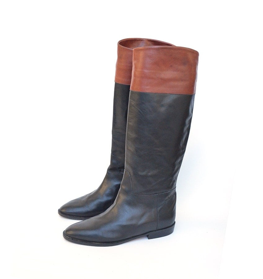 Italian leather riding boots for women in chocolate brown and black