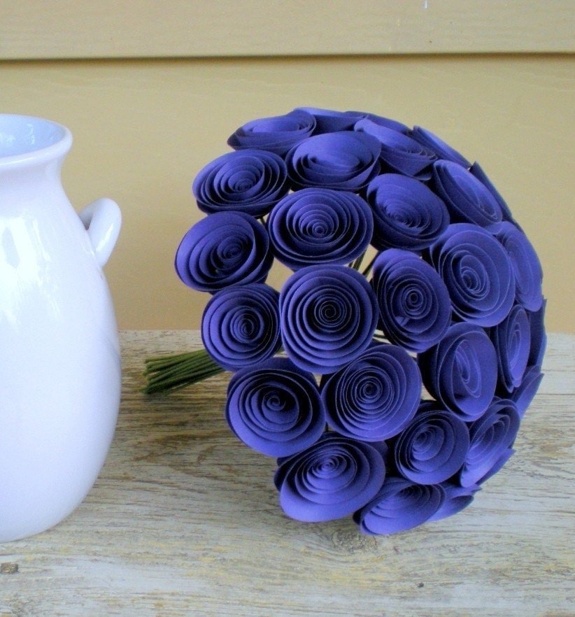 Romantic Violet Bouquet -- 35 Paper Flowers