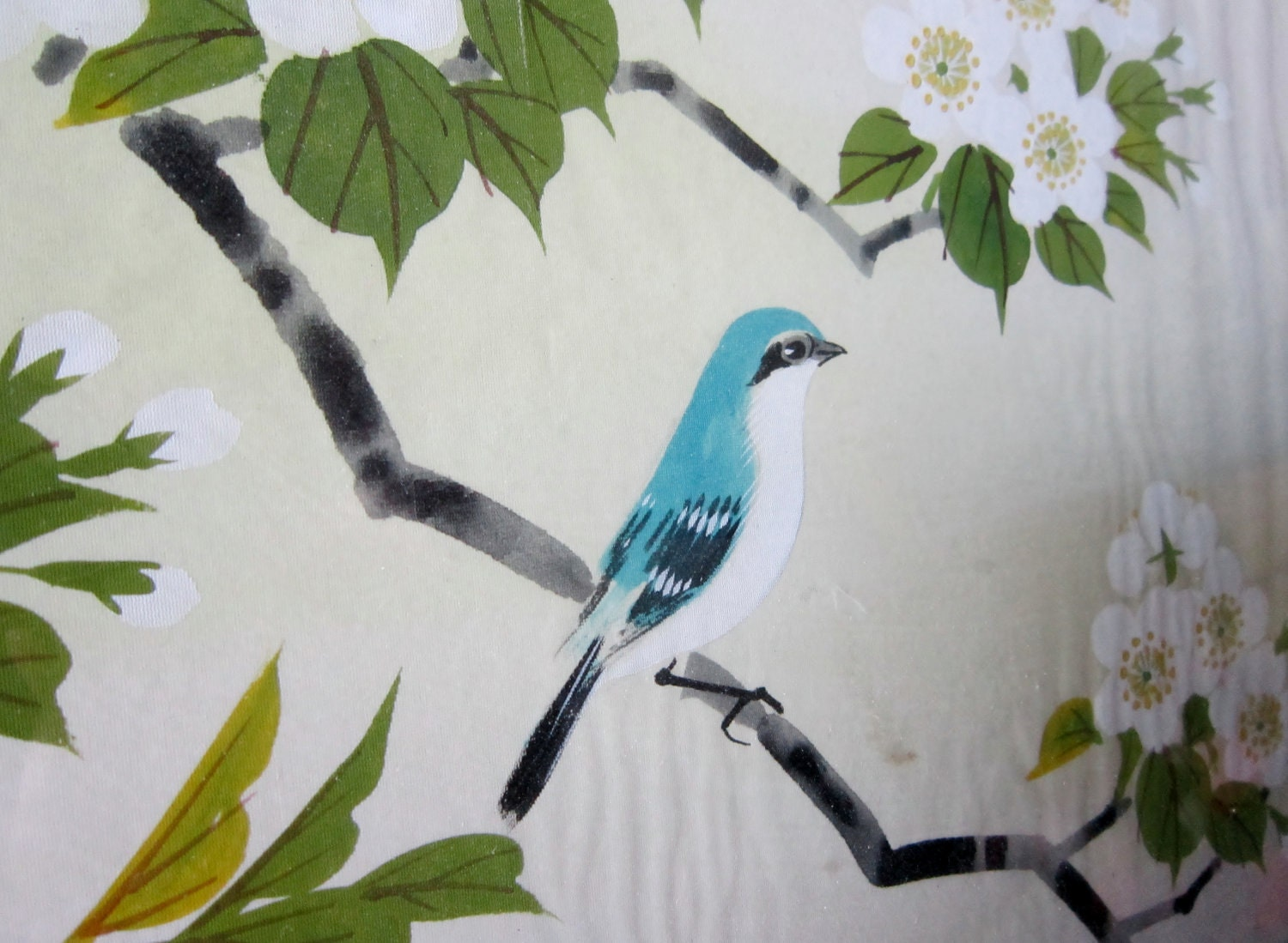 "Asian Paintings (2) on Silk Blue Bird Theme 14"" x 17"" - VistaChick"
