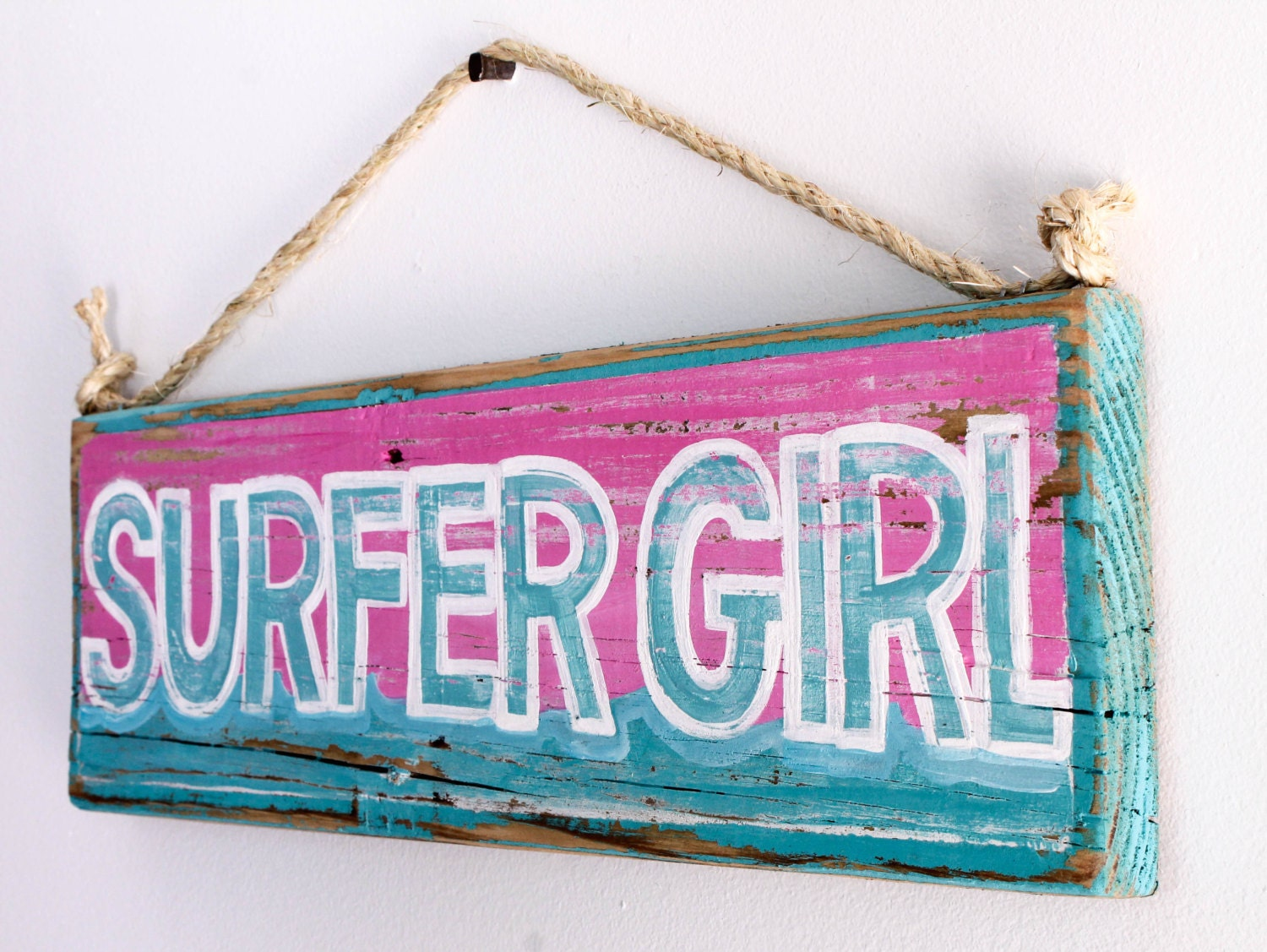 Custom surfer girl beach sign with original wave by mangoseed for Personalized kids room decor