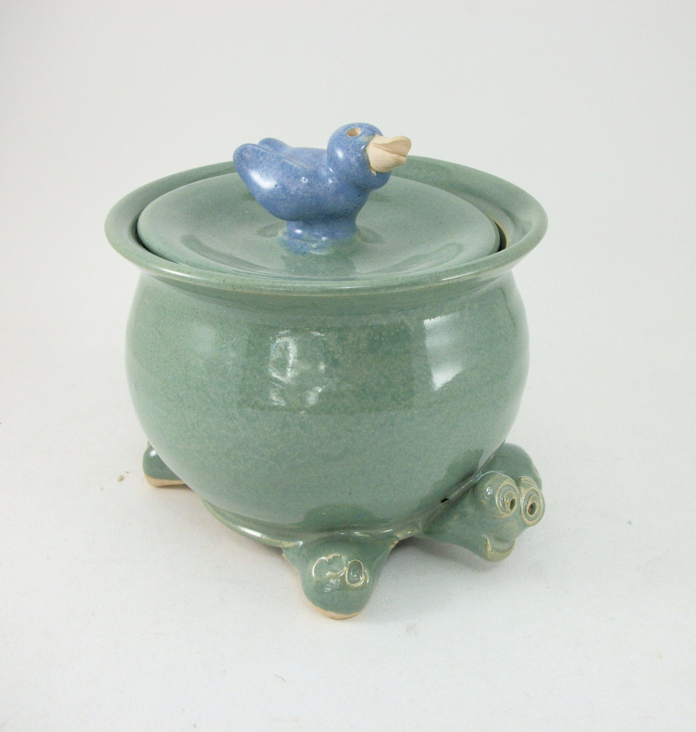 put a bird on it turtle sugar bowl with blue bird on top