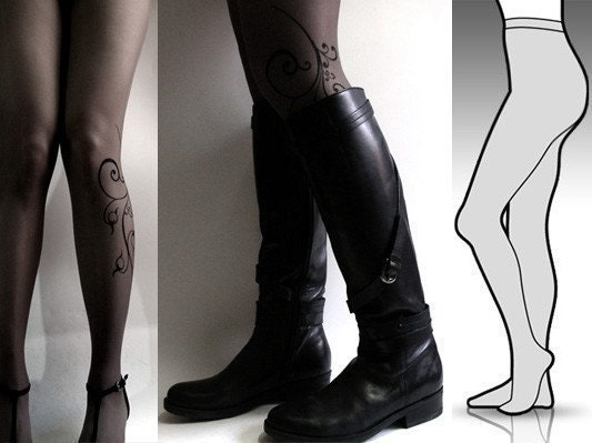 brand new color GREY SMALL/MEDIUM sexy FLORA tattoo tights / stockings full length pantyhose