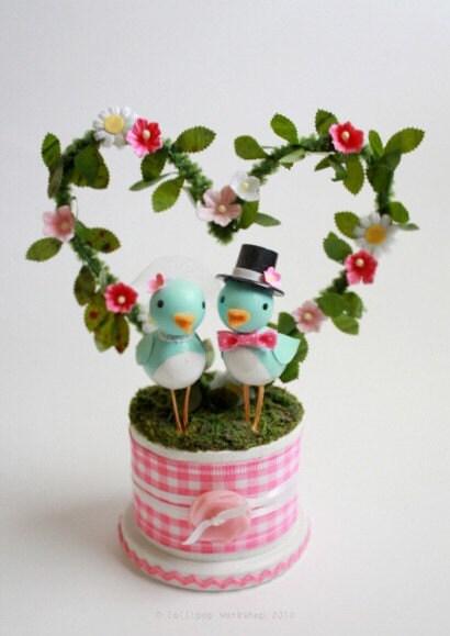 cheery bluebird wedding cake topper - custom colors