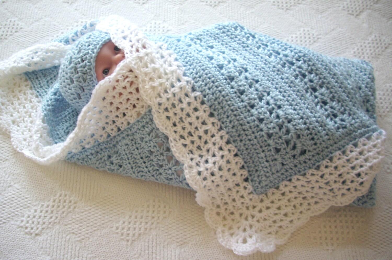 Crochet Baby Blanket Border Pattern : Crochet Baby Blanket Soft Blue with White Border Boy by ...