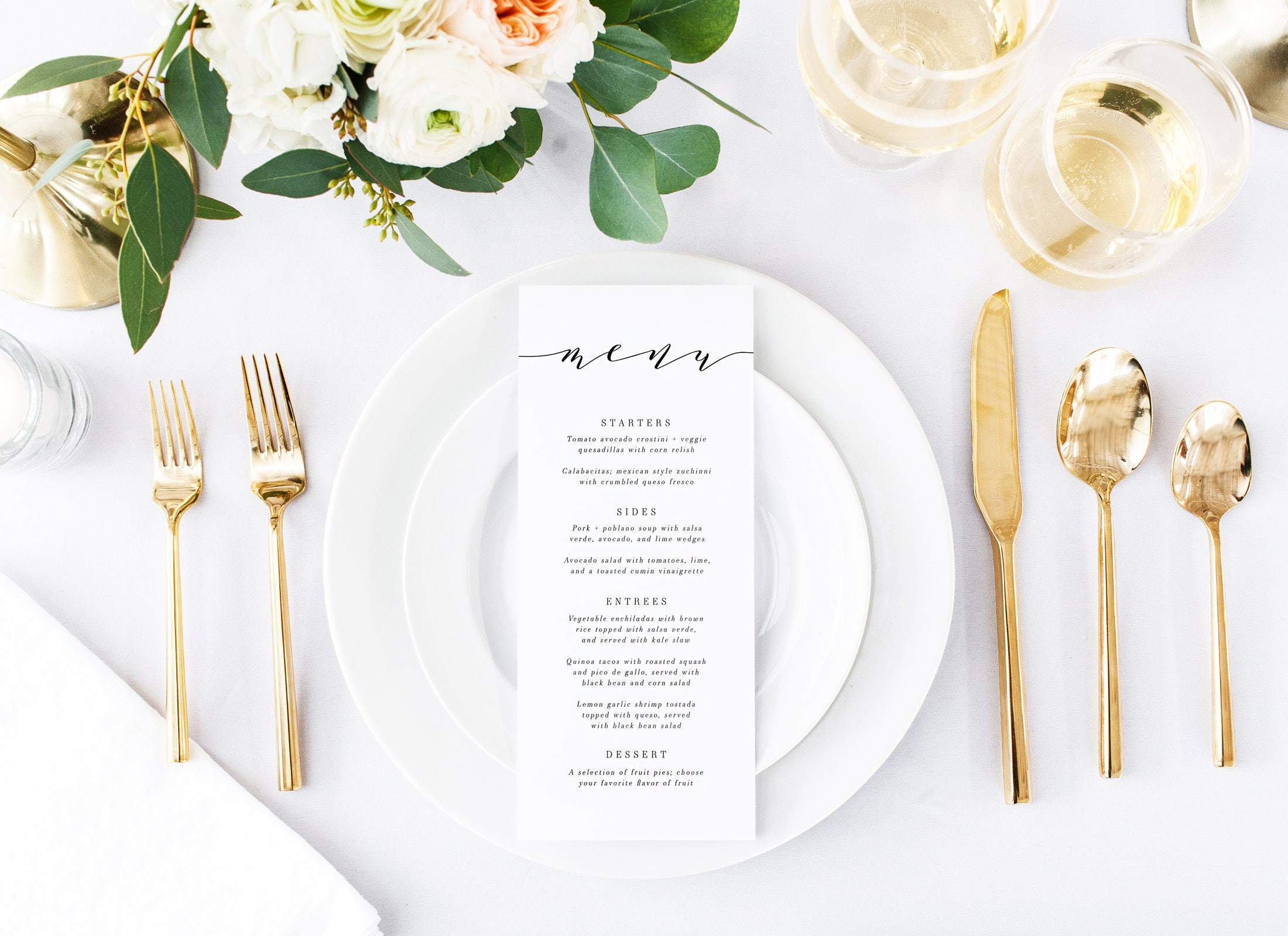 Printing menus for wedding