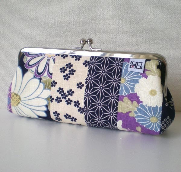 Frame pouch, Sunglass / Eye Glass / Pens Case, Kimono flower in Blue