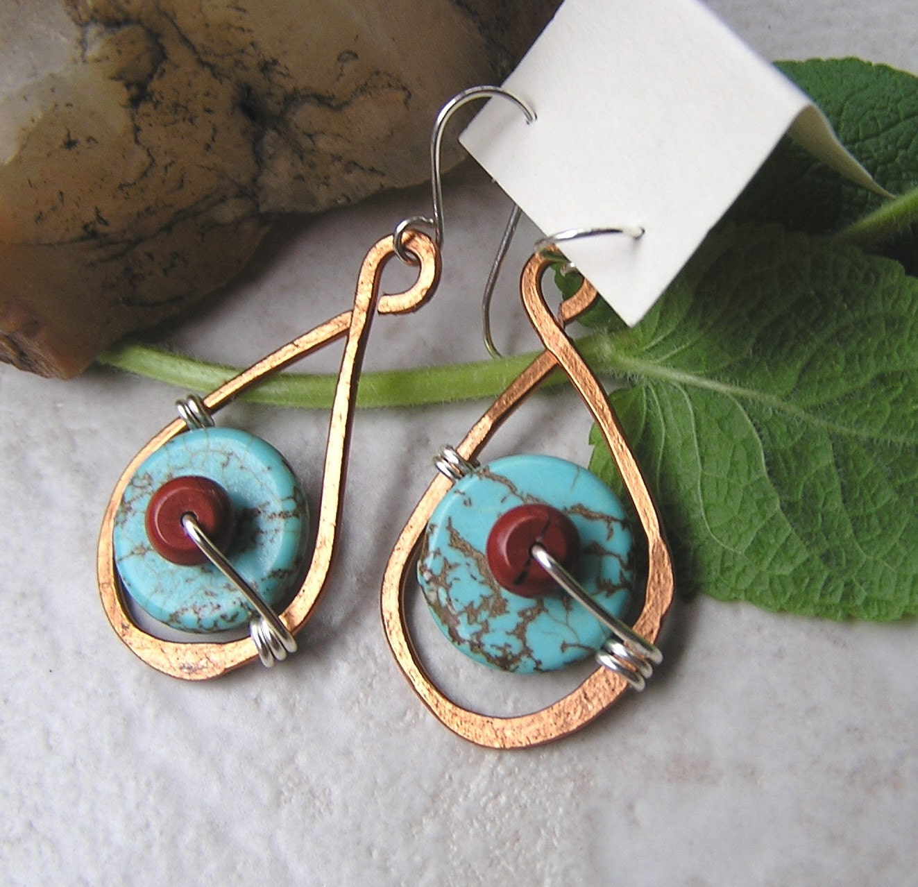 Desert Country hammered copper earrings with turquoise and red jasper