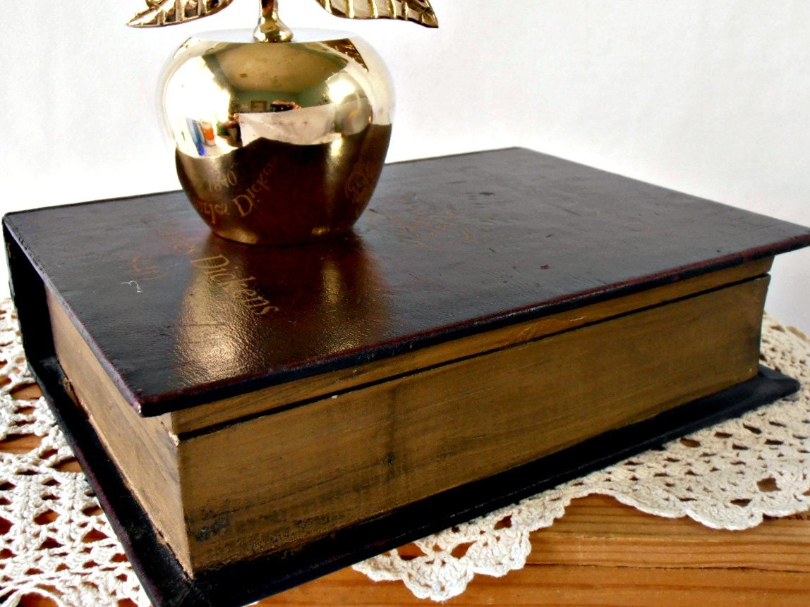 Vintage Book Box Charles Dickens Faux Leather Bound By Gsalehunter
