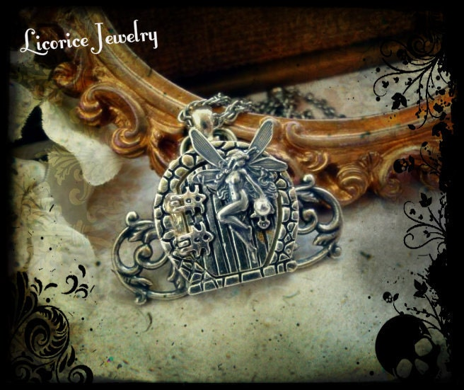 SALE -  FAIRY Garden GaTe LOCKET Necklace fantasy sterling silver plated medieval filigree Door  victorian neovictorian steampunk h - LicoriceJewelry