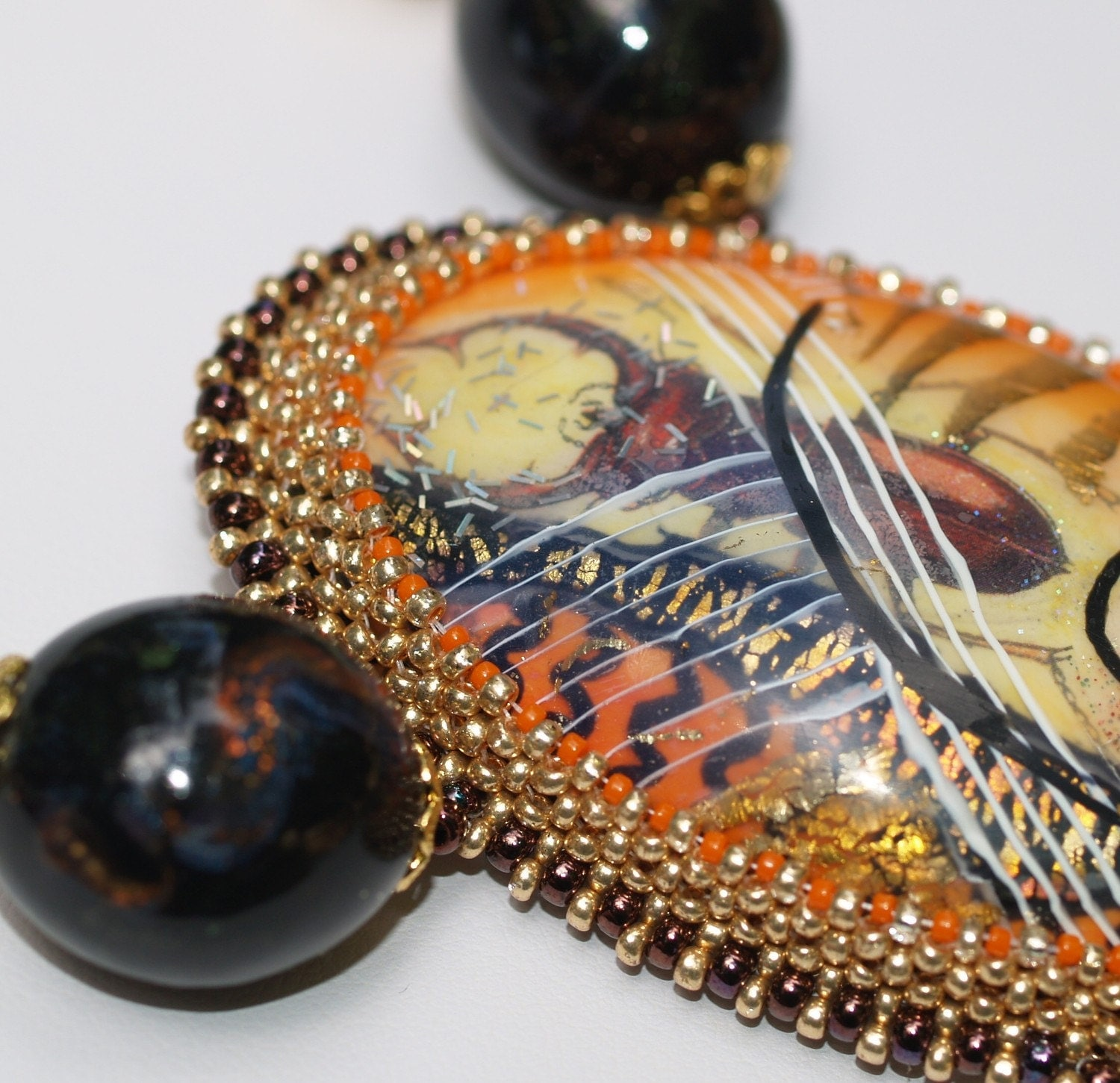 Lucinda - Bold Artisan Necklace in Shades of Orange, Gold, and Violet (3264)