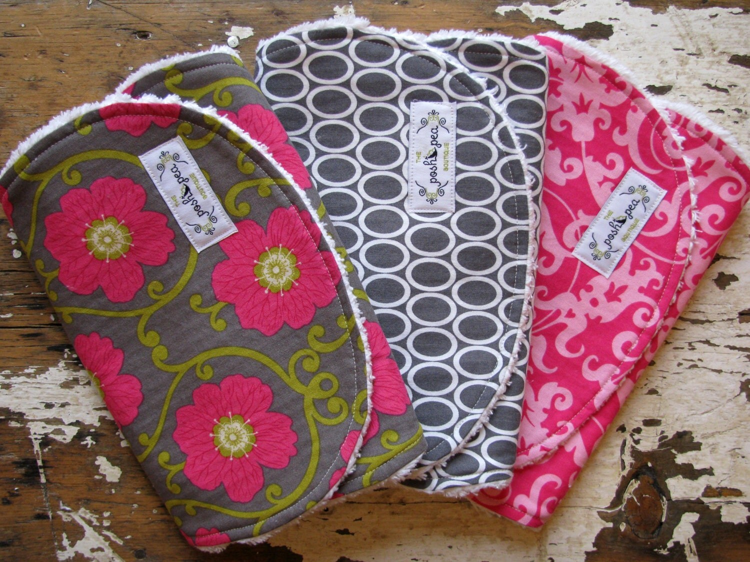 Baby girl burp cloths hot pink and grey set of 3 eco rose