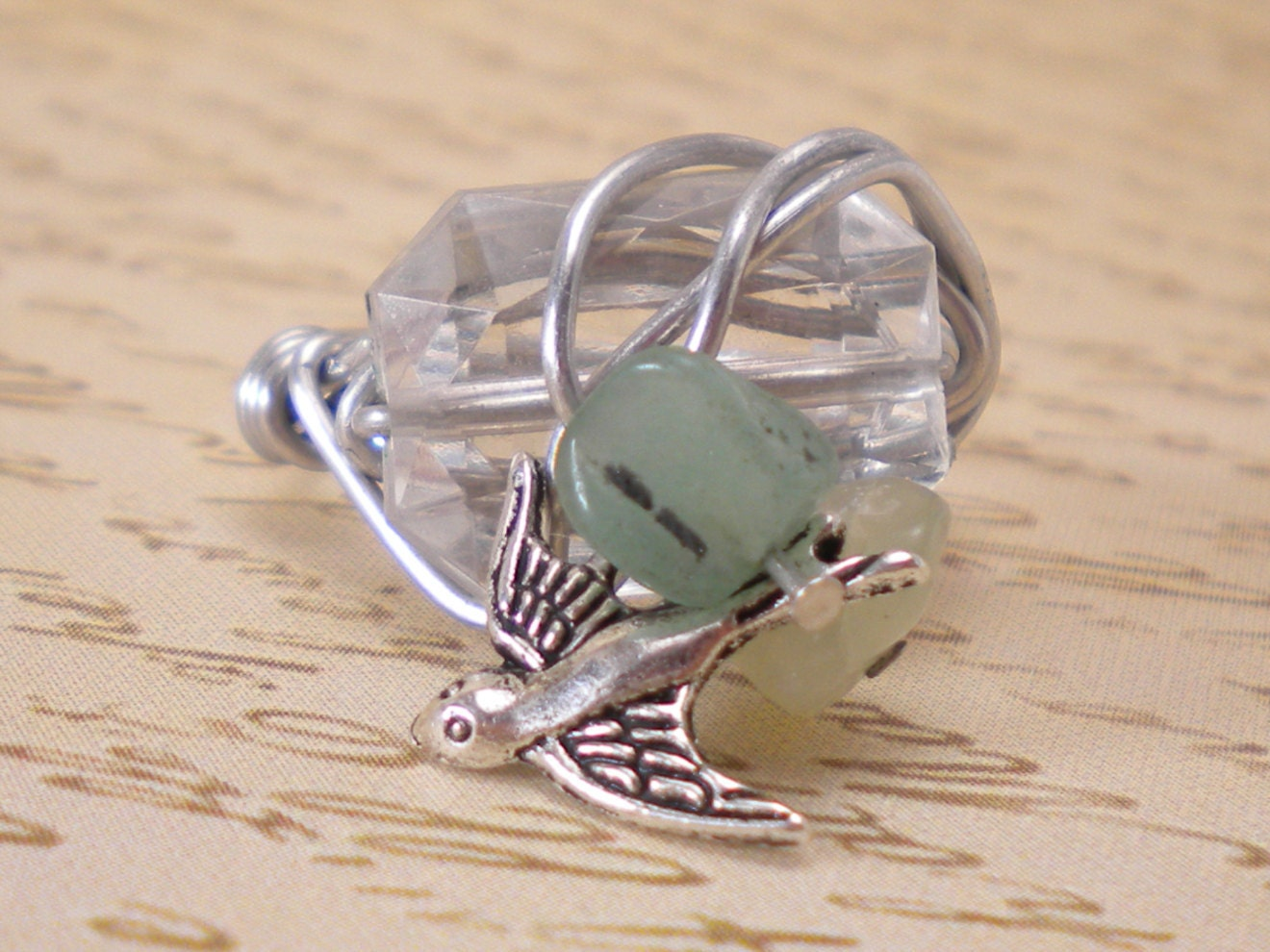 Silver Wire Wrapped Ring, Amazonite Sparrow Bird Accents