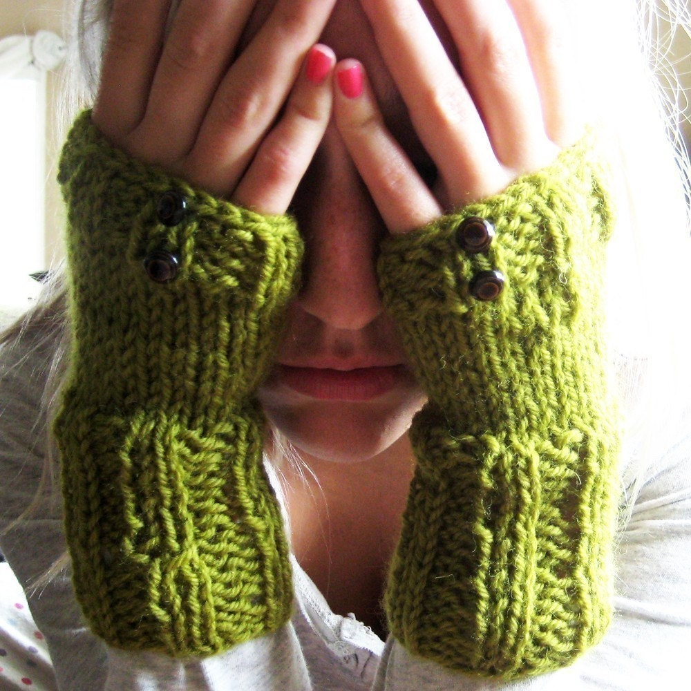 Kate Moss Olive Green Mossy Fingerless Gloves Wrist by KnitLush
