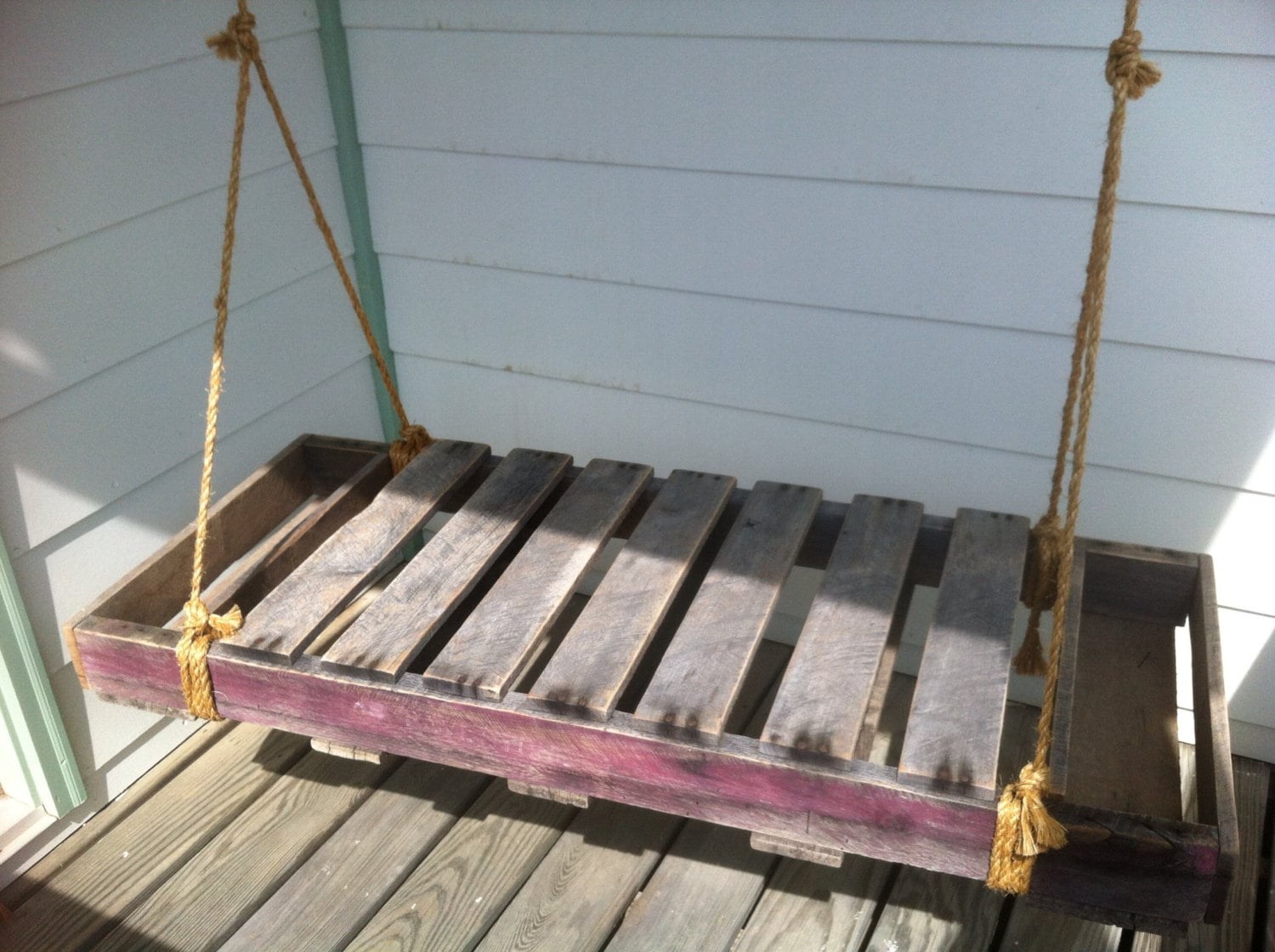 Reclaimed pallet wood porch swing by fromtheshopcreations for How to make a pallet porch swing