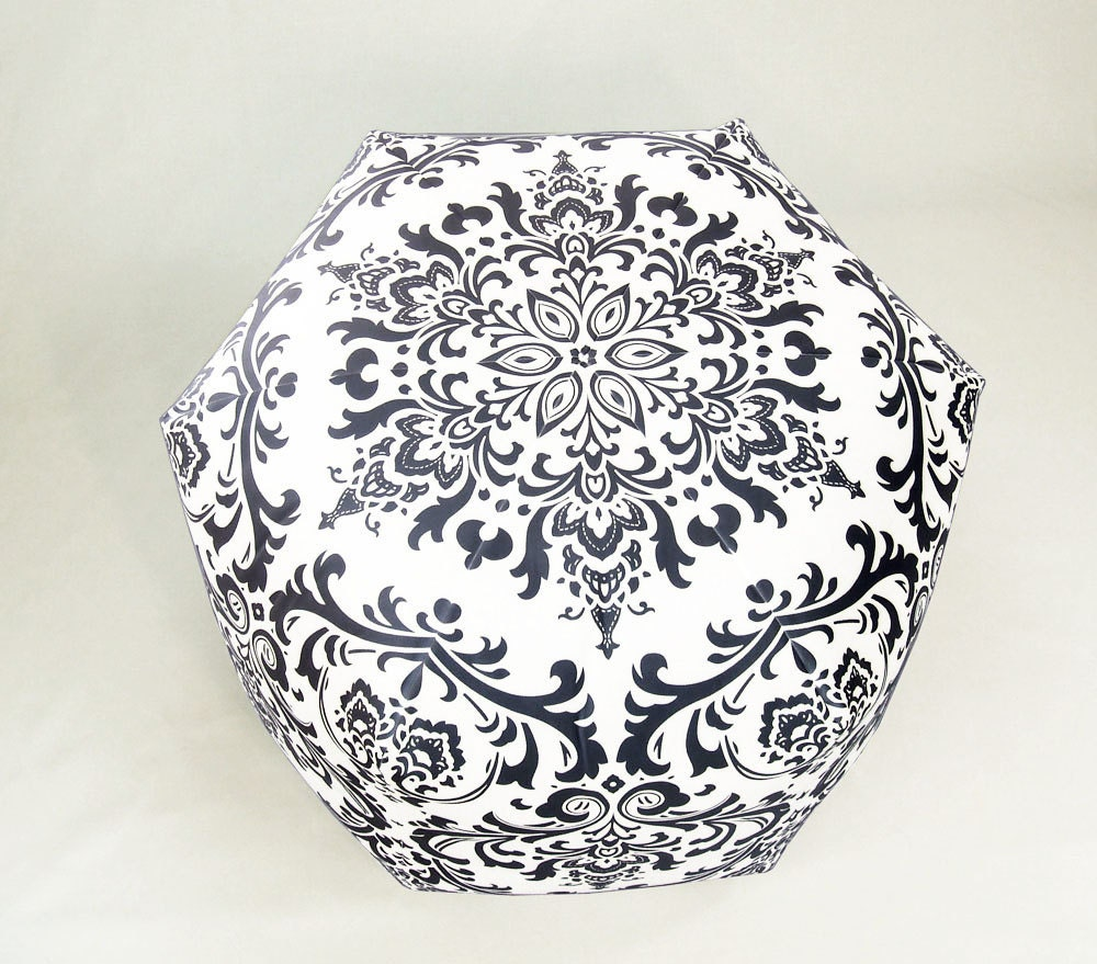 24 Modern Contemporary Floor Ottoman Pouf/Pouffe Stool Seating Pillow Black White Damask