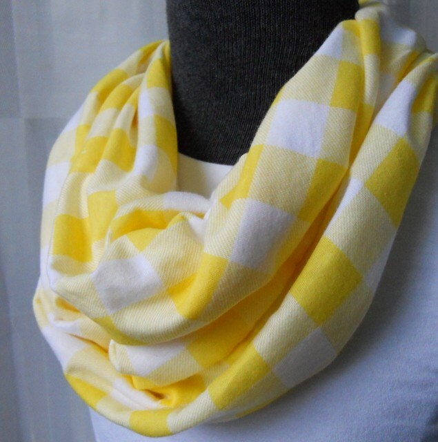 Yellow & White Buffalo Plaid Infinity Scarf