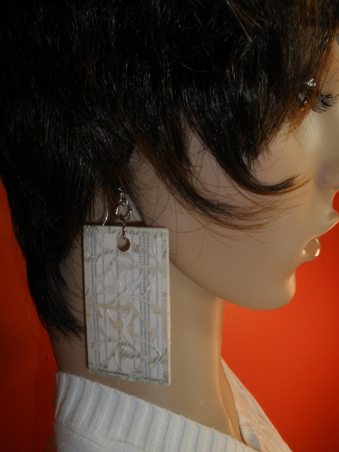 Unique and Beautiful Tan Dangling Paper Earrings Just for You