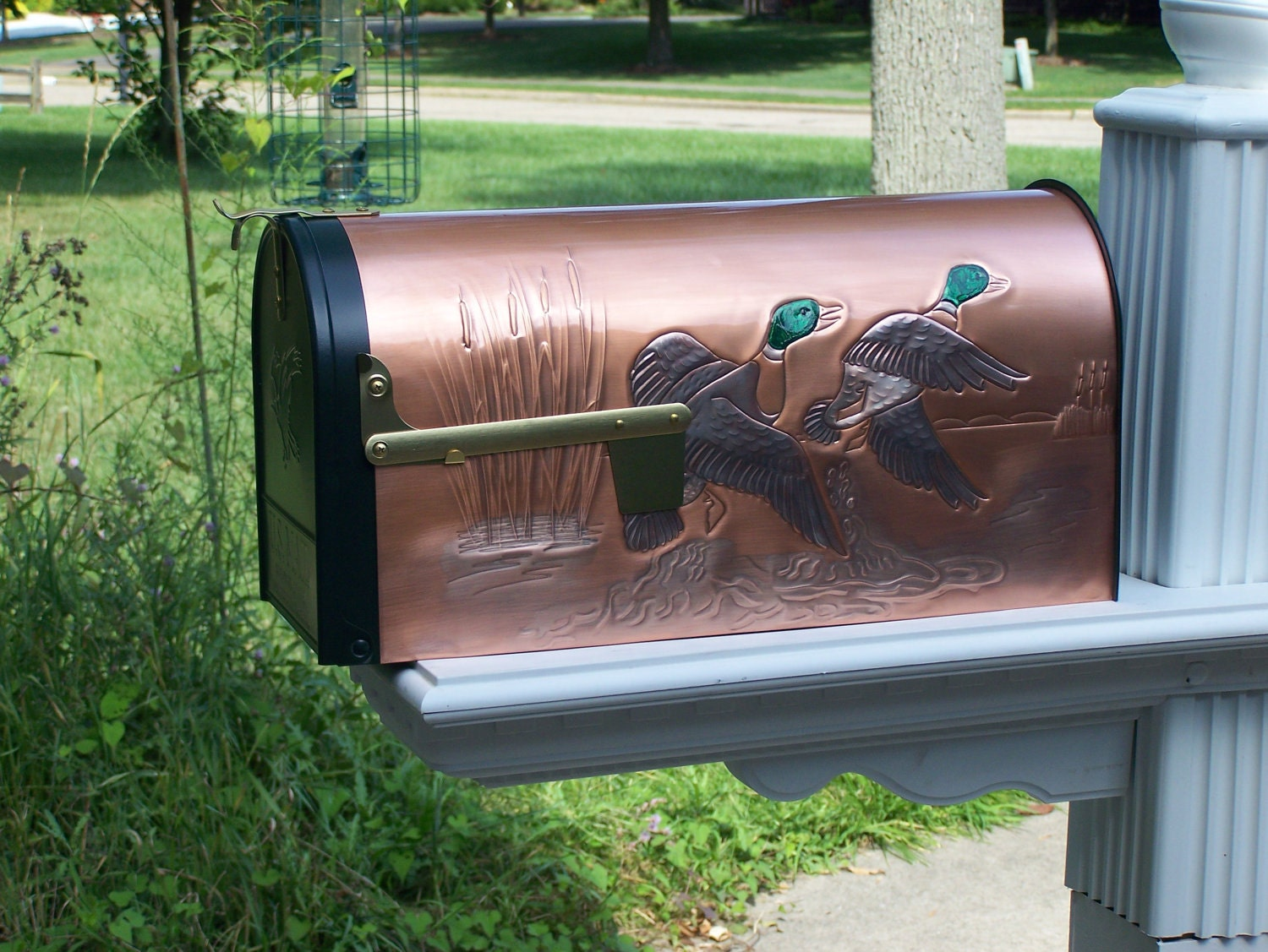 Embossed copper rural mailbox mallards by weavercopperdesigns - Unique mailboxes for rural ...