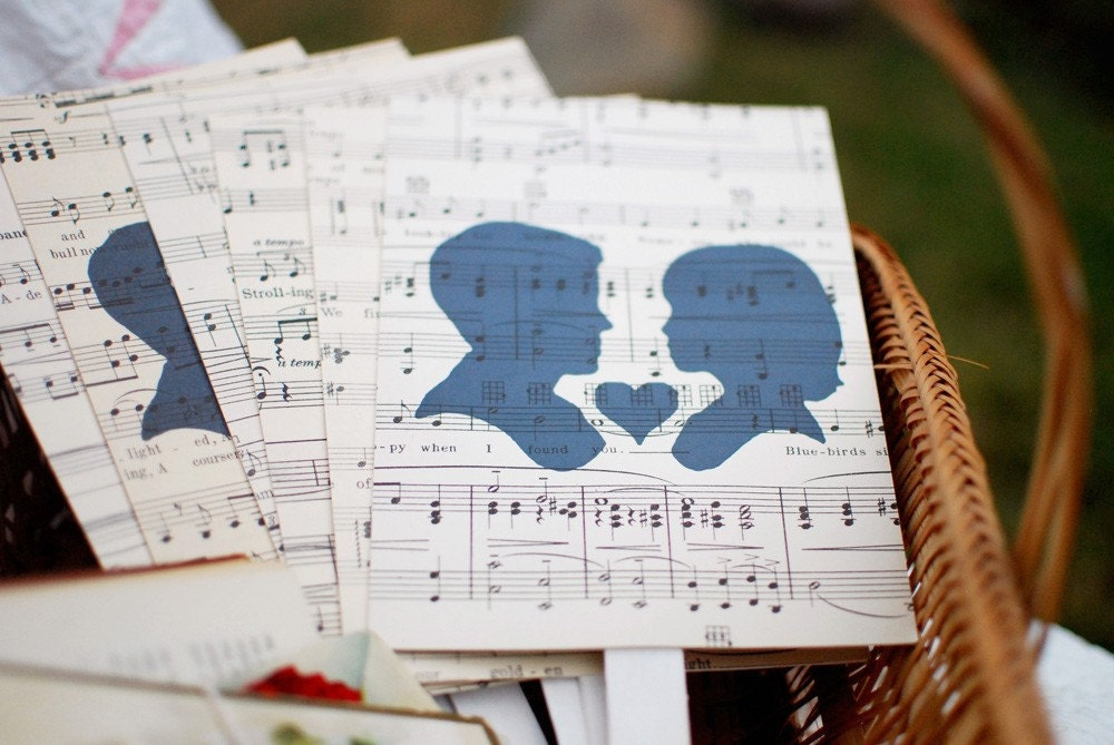 Vintage Silhouette and Sheet Music Wedding Paddles