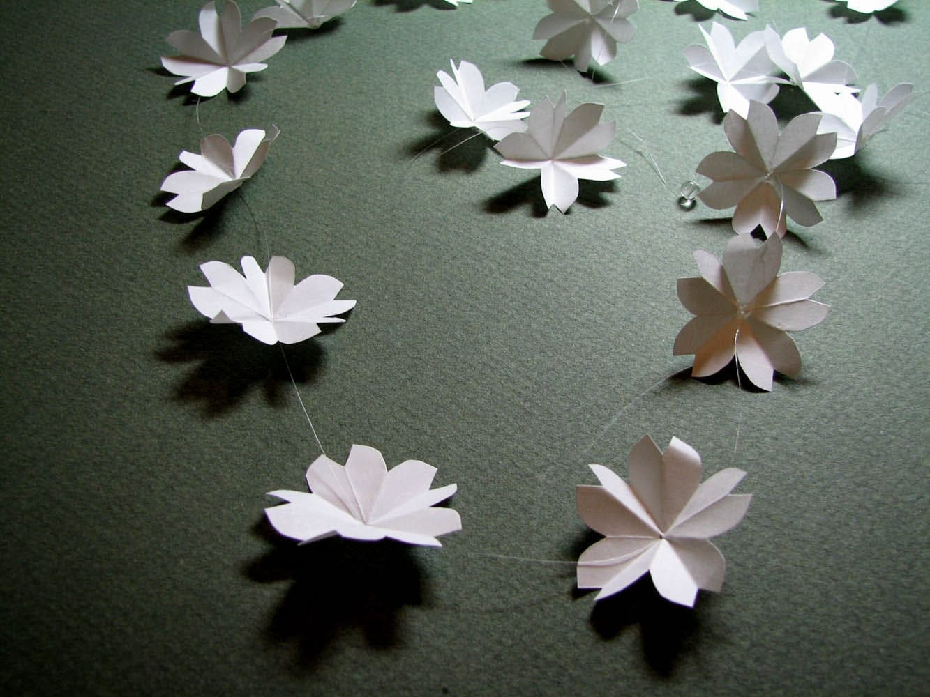 White Cherry Blossom Origami Garland by Paper Disciple
