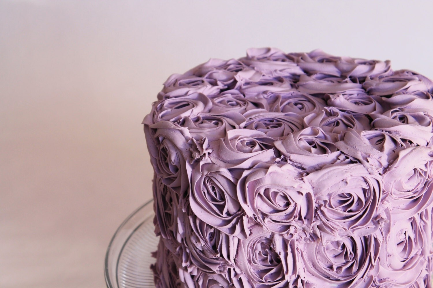 "Lavender  rosette cake. Made to order fake cake-Great addition to your Wedding, upcoming spring decor 8"" x 6"" , - TheFakeCupCakery"