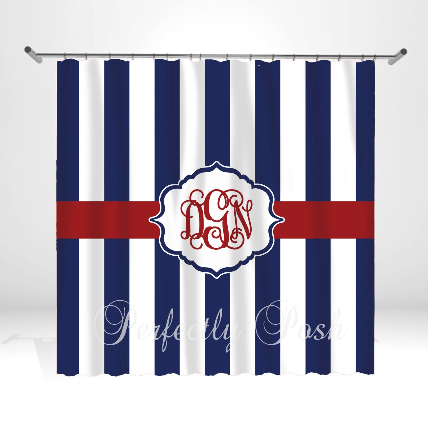 Personalized Nautical Shower Curtain by ItsPerfectlyPosh on Etsy