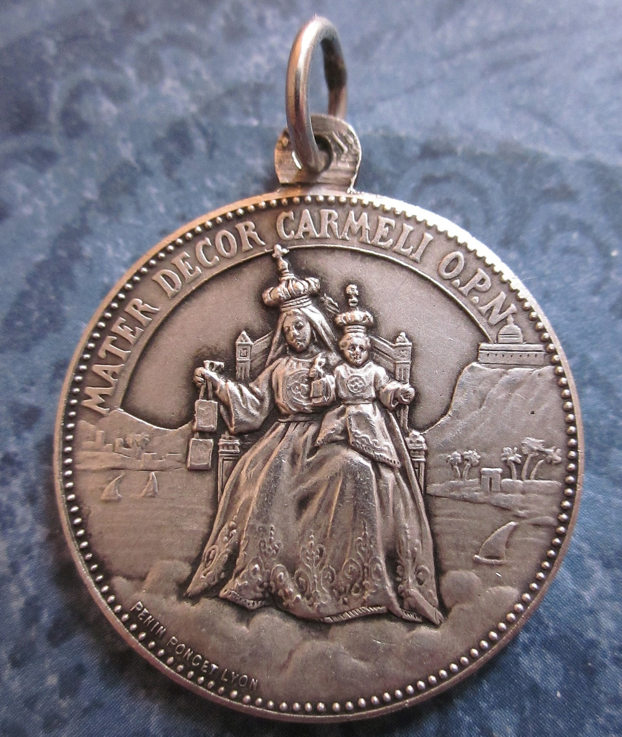 Antique Scapular Religious Medal French Sterling Silver Our Lady Of ...