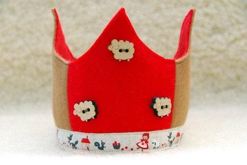 Waldorf  Wool Felt Crown -  little red riding hood