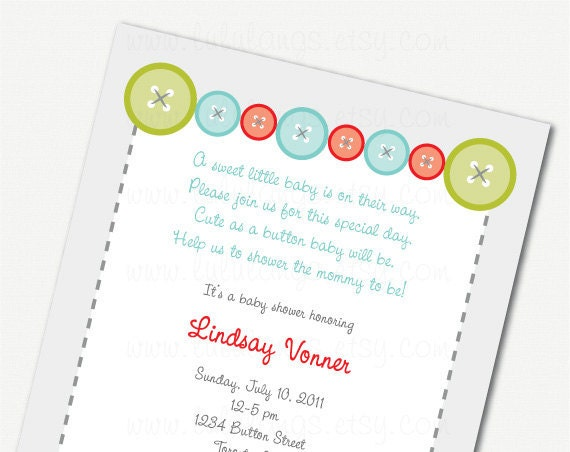 cute as a button baby shower invitation printable by lululangs