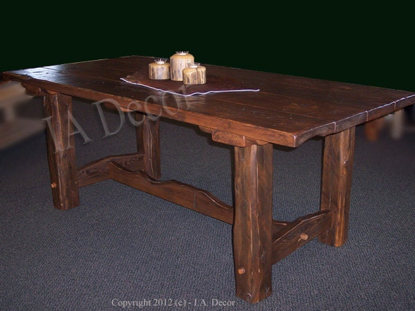 Items Similar To Reclaimed Wood Trestle Dining Table Heavy Distressed Bar