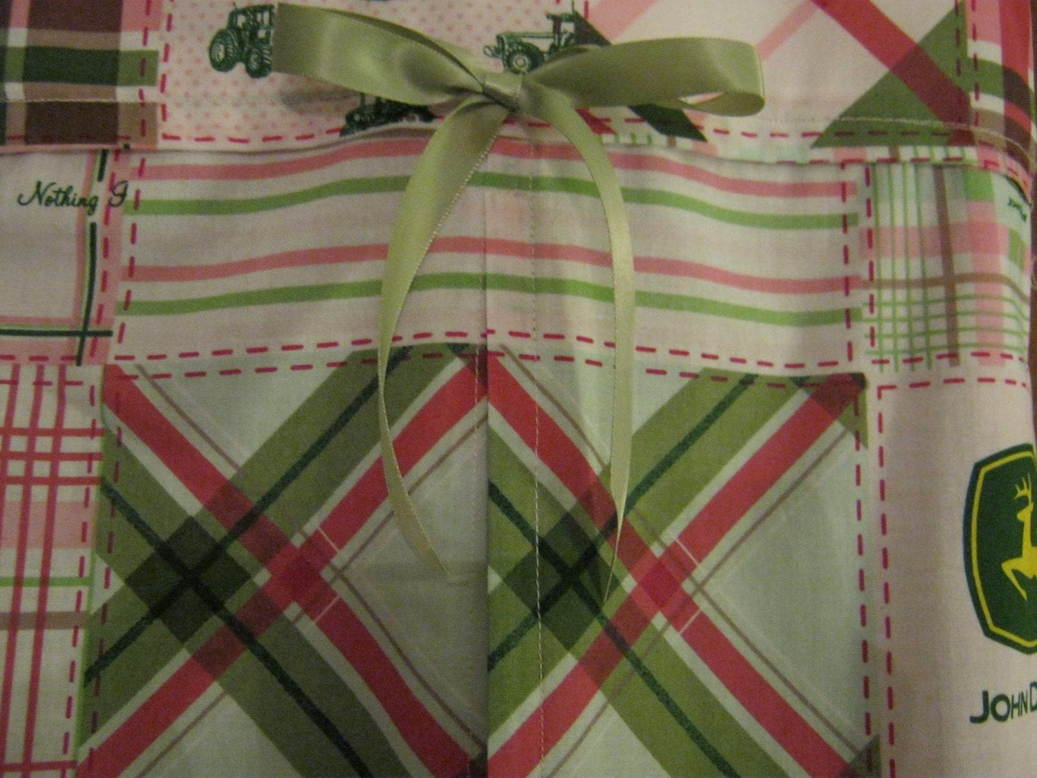 Diaper Stacker in pink and green John Deere