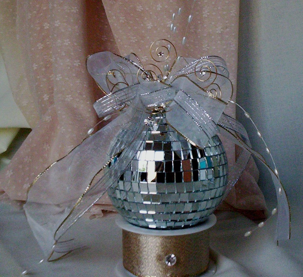 Cake Decorating Disco Ball : Birthday Mirror Disco Ball Cake Topper Unique Bridal by ...