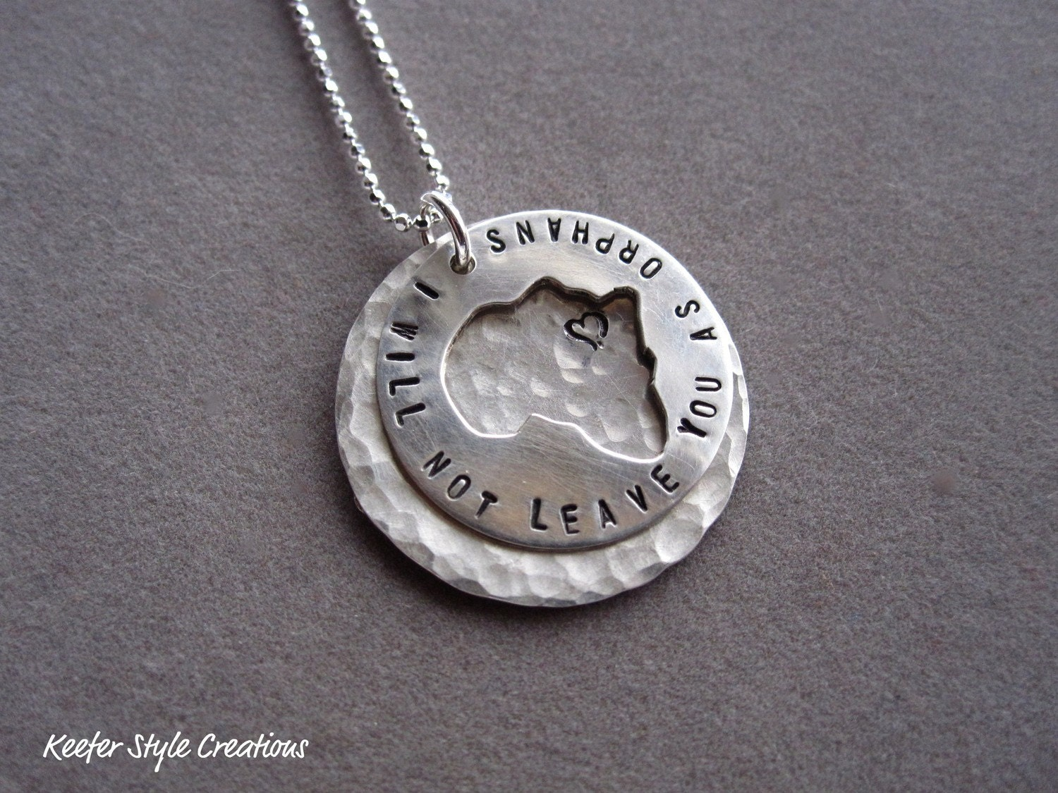 Africa cut out  hand stamped I will not leave you as orphans on hammered disk with Ethiopia heart necklace