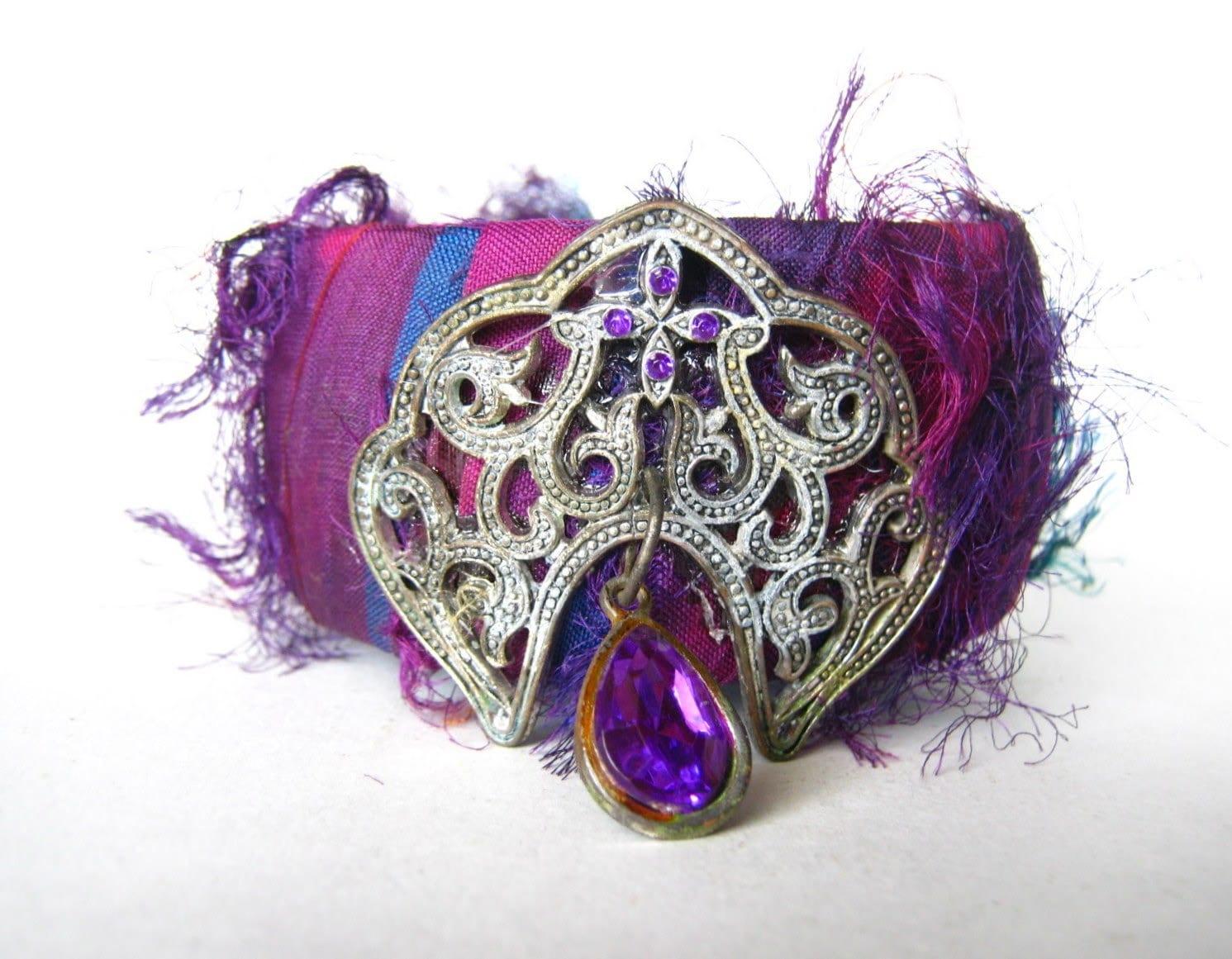 amethyst sari silk wrapped cuff bracelet - FineAndFunkyJewelry